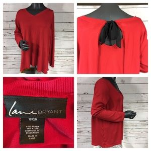 Lane Bryant Sweaters - Lane Bryant Red Black Bow Sweater Sz 18/20